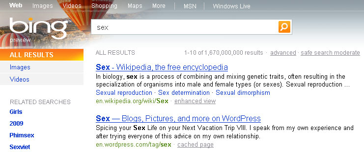 Bing sex search USA