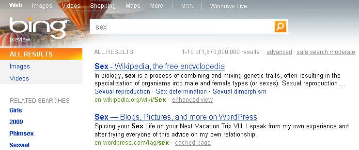 Bing sex search USA
